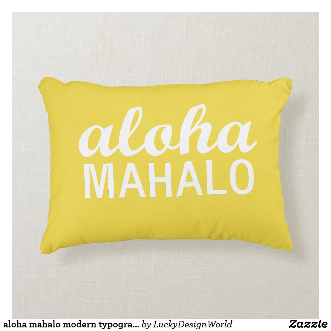 aloha mahalo modern typography yellow accent pillow