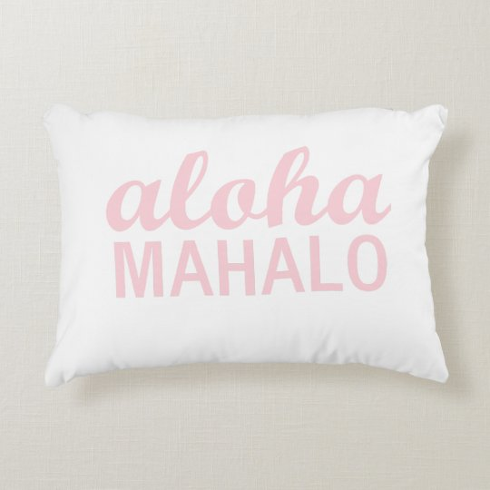 Aloha Mahalo Typography In Light Pink Decorative Pillow Zazzle Magnificent Light Pink Decorative Pillows
