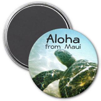 Aloha Maui Sea Turtle 3 Inch Round Magnet