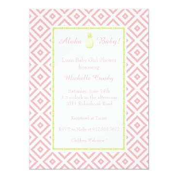 Toddler & Baby themed Aloha Mint/Peony Hawaiian Luau Shower Invitation