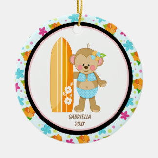 Aloha Monkey Surfer In Bikini Ornament