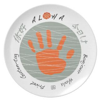 Aloha multi-language 'hello' child hand print ART Dinner Plate