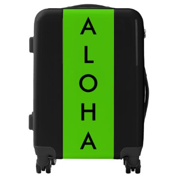 Beach Themed Aloha Neon Green Black Tropical Hawaiian Trendy Luggage