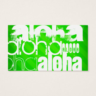 Aloha; Neon Green Stripes Business Card