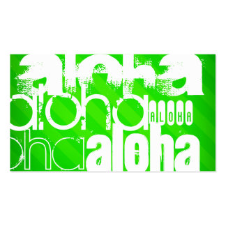 Aloha; Neon Green Stripes Double-Sided Standard Business Cards (Pack Of 100)