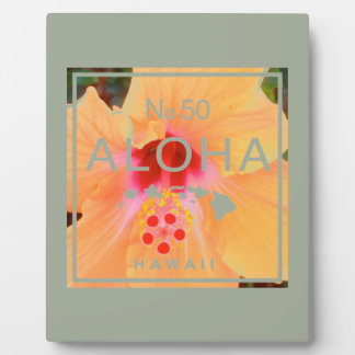 Aloha No 50 Orange Hibiscus Plaque
