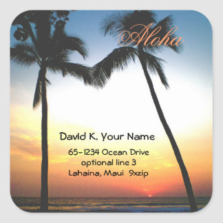 Aloha Palm Tree Address Square Sticker