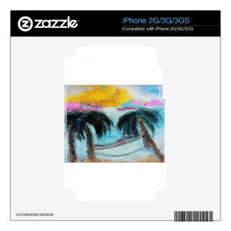 Aloha Palm Tree Beach Pastel Art Skins For iPhone 3G