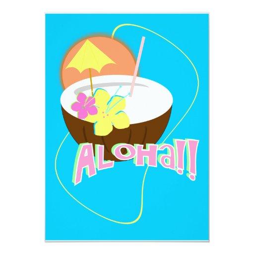 """ALOHA Party 5 5"""" X 7"""" Invitation Card"""