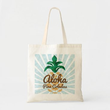 Beach Themed Aloha Pina Coladas | Pineapple Monogram | Any Text Tote Bag