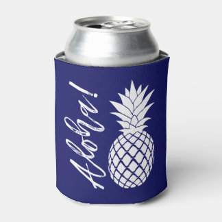 Aloha Pineapple Beach Party Luau | navy white Can Cooler