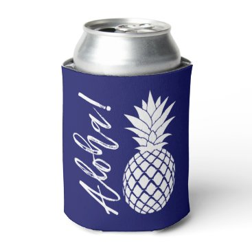 Beach Themed Aloha Pineapple Beach Party Luau | navy white Can Cooler