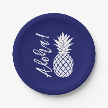 Beach Themed Aloha Pineapple Beach Party Luau | navy white Paper Plate