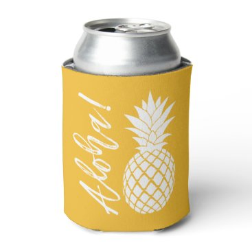 Beach Themed Aloha Pineapple Beach Party Luau | yellow white Can Cooler