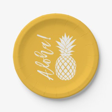 Beach Themed Aloha Pineapple Beach Party Luau | yellow white Paper Plate
