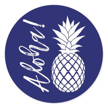 Beach Themed Aloha Pineapple Beach Wedding Luau   navy white Classic Round Sticker