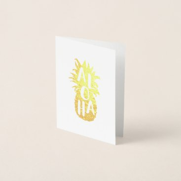 Beach Themed Aloha Pineapple Gold Foil Stationery Card