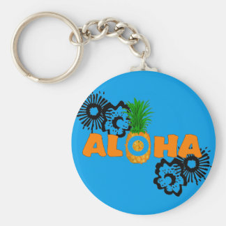 Aloha Pineapple - Hawaiian Themed Party Favors Basic Round Button Keychain