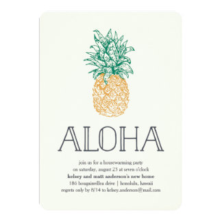 Aloha Pineapple Housewarming Party Invitation