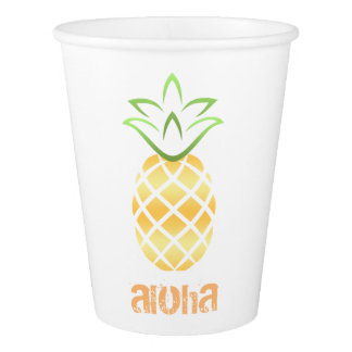 Aloha Pineapple Luau Beach Party Paper Cups