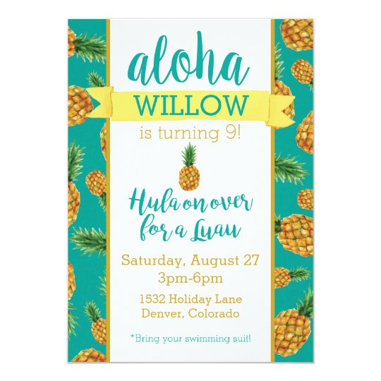 Aloha Pineapple Luau Birthday Invitation Zazzle Com