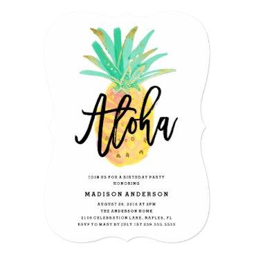 Beach Themed Aloha Pineapple Party Invitation