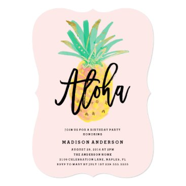 Beach Themed Aloha Pineapple Party Invitation