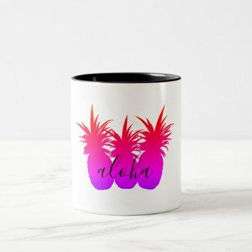 Coffee Themed Aloha Pineapple White Coffee Beverage Mug