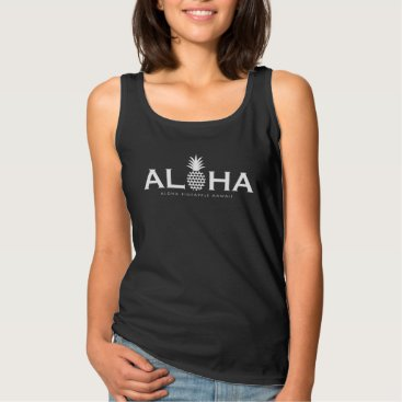 Beach Themed ALOHA PINEAPPLE white Tank Top
