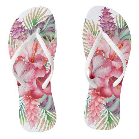 Aloha Pink Tropical Floral Flip Flops
