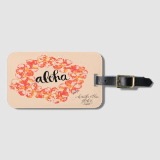 Aloha Plumeria Lei Bag Tag - Orange