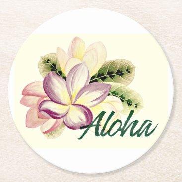 Aloha Plumeria Round Paper Coaster
