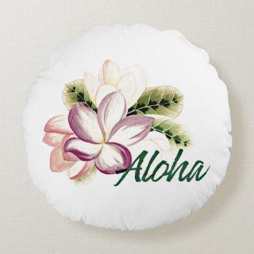 Aloha Plumeria Round Pillow