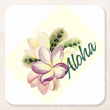 Aloha Plumeria Square Paper Coaster
