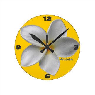 Aloha Plumeria Wall Clock