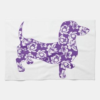 Aloha Purple Doxie Dachshund Kitchen Towel