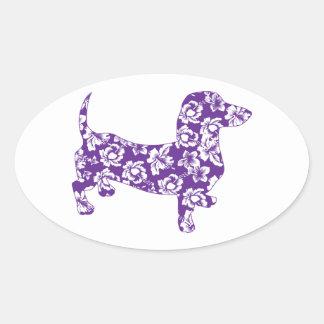 Aloha Purple Doxie Dachshund Oval Sticker