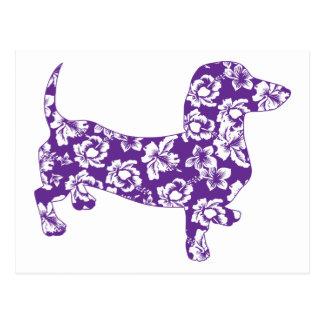 Aloha Purple Doxie Dachshund Post Card