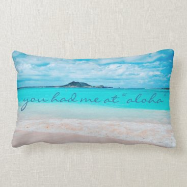 "Beach Themed ""Aloha"" quote turquoise beach photo lumbar pillow"