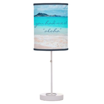 "Beach Themed ""Aloha"" quote turquoise beach photo table lamp"