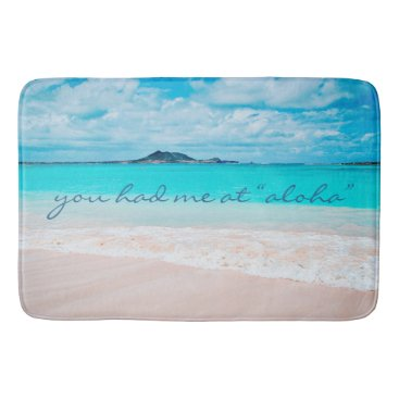 "Beach Themed ""Aloha"" quote turquoise sandy beach photo bath mat"