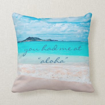 "Beach Themed ""Aloha"" quote turquoise sandy beach photo pillow"