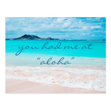 "Beach Themed ""Aloha"" quote turquoise sandy beach photo postcard"