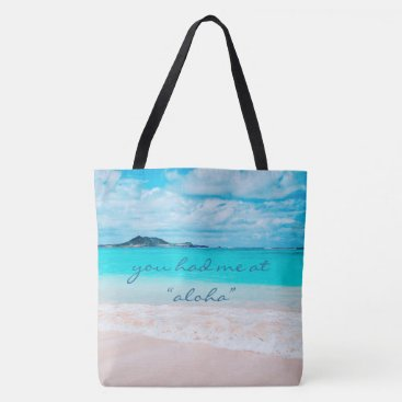 "Beach Themed ""Aloha"" quote turquoise sandy beach photo tote bag"
