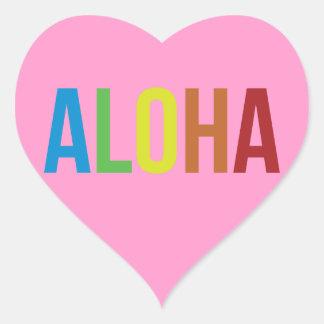Aloha Rainbow Pink Heart Sticker