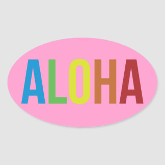 Aloha Rainbow Pink Oval Sticker