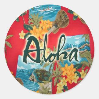 Aloha Red Round Sticker