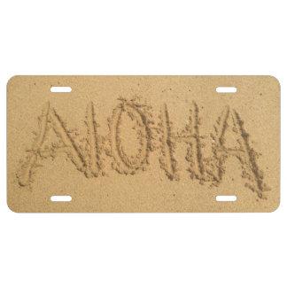 Aloha Sand Writing License Plate