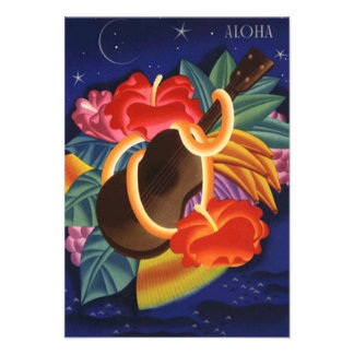 Aloha Save the Date Tropical Night Hawaiian Hawaii Invite