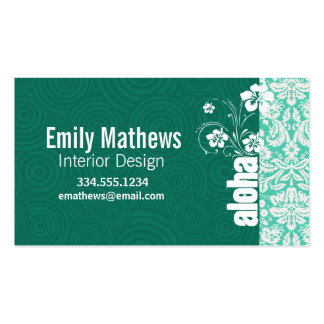 Aloha; Seafoam Green Damask Double-Sided Standard Business Cards (Pack Of 100)
